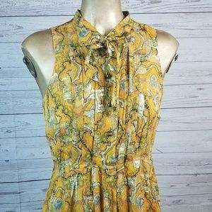 HD in Paris Goldspun Yellow Paisley Dress Sz 2